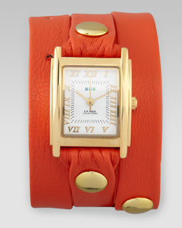 La Mer Collections Wrap Rectangle Watch, Orange