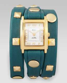 La Mer Collections Studded Wrap Rectangle Watch, Teal