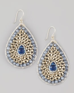 Nakamol Beaded Teardrop Earrings, Silvertone