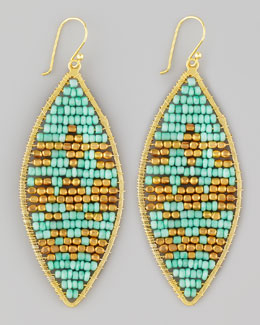 Nakamol Beaded Leaf-Shape Earrings, Turquoise