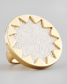 House of Harlow Medium Sunburst Ring, White Sand