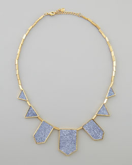 House of Harlow Stingray-Embossed Station Necklace, Blue