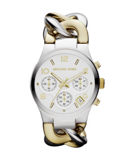 Michael Kors  Mid-Size Golden/Silver-Color Stainless Steel Link Watch