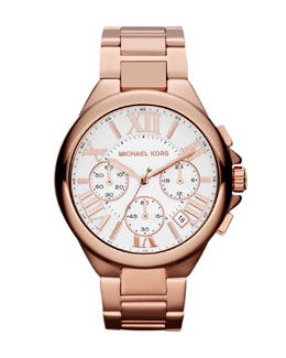 Michael Kors  Mid-Size Rose Golden Stainless Steel Camille Chronograph Watch