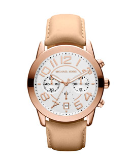 Michael Kors  Mid-Size Rose Golden Leather Mercer Chronograph Watch