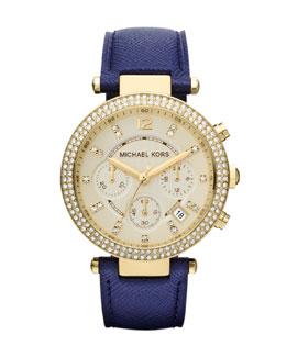 Michael Kors  Mid-Size Navy Leather Parker Chronograph Glitz Watch