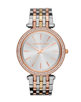 Michael Kors  Mid-Size Three-Tone Stainless Steel Darci Glitz Watch