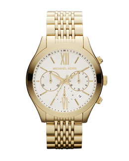 Michael Kors  Mid-Size Golden Stainless Steel Brookton Watch