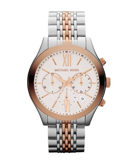 Michael Kors  Mid-Size Silver Color/Rose Golden Stainless Steel Brookton Watch