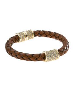 Michael Kors  Braided Leather Crystallized Bracelet, Golden/Luggage