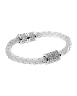 Michael Kors  Braided Leather Crystallized Bracelet, White/Silver Color