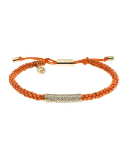 Michael Kors  Macrame Cord Pave Bracelet, Orange/Golden
