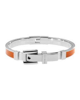 Michael Kors  Buckle Enamel Bracelet, Orange/Silver Color