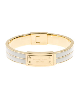 Michael Kors  Logo-Plaque Bangle, Ecru/Golden