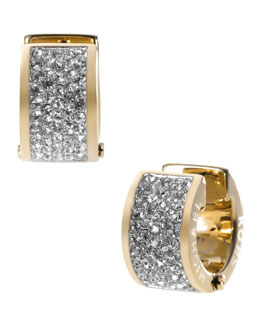 Michael Kors  Pave Crystal Hug Earrings, Golden