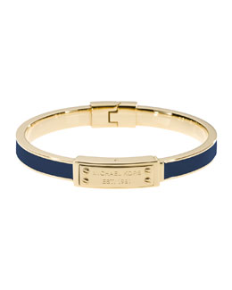 Michael Kors  Skinny Logo-Plaque Bangle, Navy/Golden