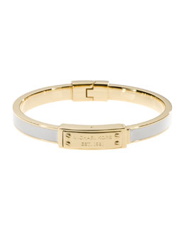 Michael Kors  Skinny Logo-Plaque Bangle, Ecru/Golden