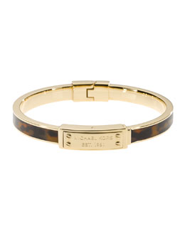 Michael Kors  Skinny Logo-Plaque Bangle, Tortoise/Golden