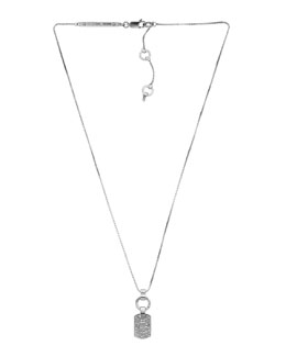 Michael Kors  Pave Dog Tag Necklace, Silver Color