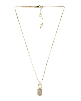 Michael Kors  Pave Dog Tag Necklace, Golden