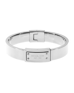 Michael Kors  Logo-Plaque Hinge Bangle, Silver Color