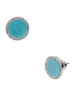 Michael Kors  Pave Slice Stud Earrings, Turquoise/Silver Color
