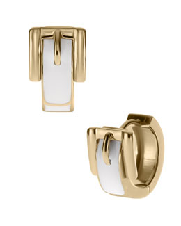 Michael Kors  Buckle Huggie Earrings, Golden/White