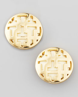Tory Burch Frete Tiled T Button Earrings, Ivory