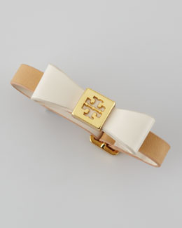 Tory Burch Leather Bow Bracelet, Coffee