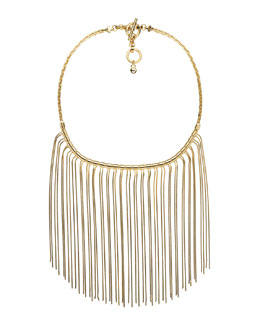 Michael Kors  Fringe Bib Necklace, Golden