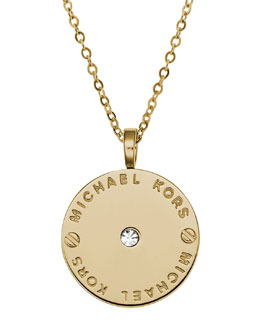 Michael Kors  Logo Disc Necklace, Golden