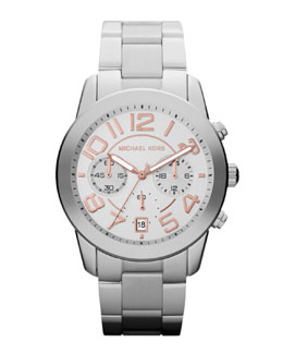 Michael Kors  Mid-Size Silver Color Stainless Steel Mercer Chronograph Watch