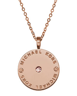 Michael Kors  Logo Disc Necklace, Rose Golden