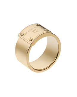 Michael Kors Logo-Plate Ring, Golden