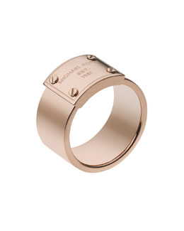 Michael Kors  Logo-Plate Ring, Rose Golden