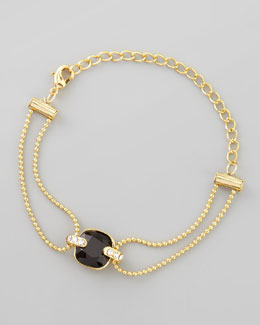 Chamak by Priya Kakkar Double-Stranded Crystal Ball Chain Bracelet, Black