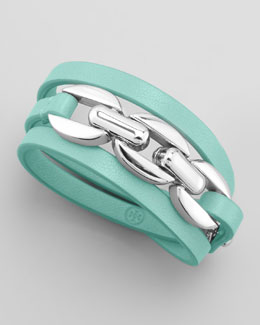 Tory Burch Triple-Wrap Leather Bracelet, Mint