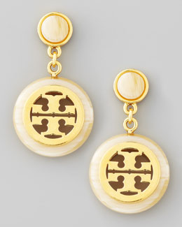 Tory Burch Resin Framed Logo Drop Earrings