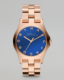MARC by Marc Jacobs 36.5mm Rose Golden Watch, Maliblue