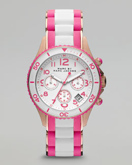 MARC by Marc Jacobs Rock Rose Golden Enamel Watch, White/Pink