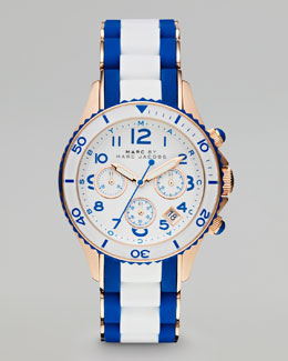 MARC by Marc Jacobs Rock Rose Golden Enamel Watch, White/Blue