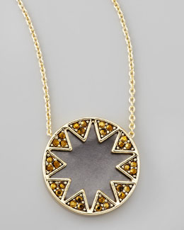 House of Harlow Crystal Sunburst Station Necklace, Matte Black
