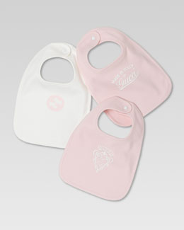 Gucci Set of Three Logo Bibs, White/Light Pink