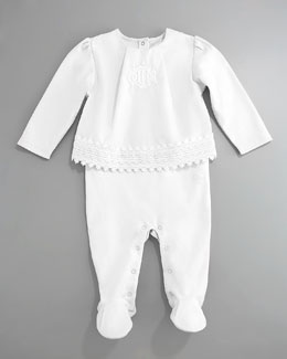 Baby Dior Eyelet Top & Footie Set, White