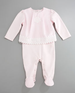 Baby Dior Eyelet Top & Footie Set, Light Pink
