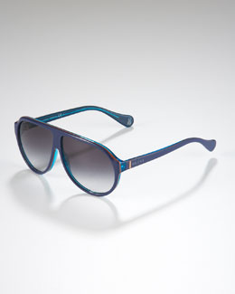 Gucci Children's Oversized GG Aviator Sunglasses, Transparent/Blue/Orange