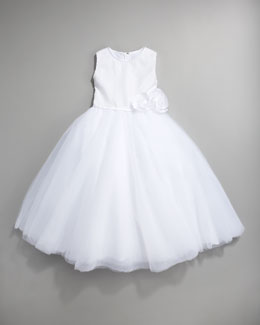 Joan Calabrese Sequin Tulle-Skirt Dress, White, Size 2-10