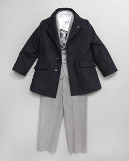 Armani Junior Dress Coat With Lined Collar