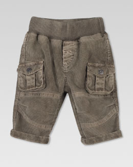 Gucci Velvet Corduroy Cargo Pants, Light Military Green