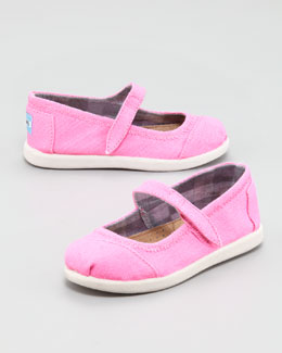 TOMS Canvas Mary Jane Slip-On, Pink, Tiny